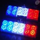 "12 LED stroboscopic lights with controller (3.75"", red white blue, 12V)"