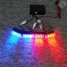 "Set of 4 mini 3 LED stroboscopic lights with 3 mode controller (1.75"", 2 red, 2 blue, 12V)"