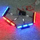 Set of 4 mini triple 3 LED stroboscopic lights with 3 mode controller (2 red, 2 blue, 12V)