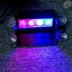 "High power 4 LED stroboscopic light for window (4"", red & blue, 12V, cigarette lighter)"
