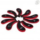 Golf club head cover set (black + red, 10 piece)